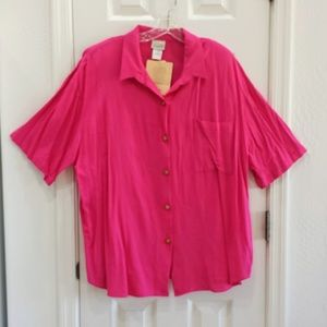 Plus Preferred Fuchsia Pink Blouse NWT Size 24W